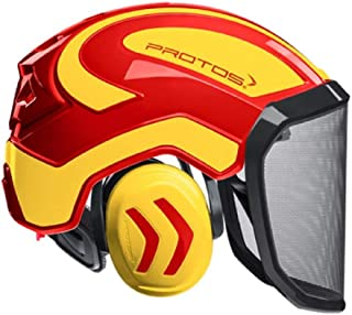 Pfanner Protos Integral Forest Helmet (Red & Yellow) (Chin Strap Not Included)