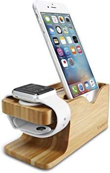 Spigen Apple Watch & iPhone Stand Bamboo Charging Dock Station Case