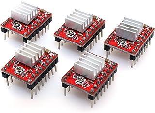 BIQU A4988 Compatible StepStick Stepper Motor Diver Module with Heat Sink for 3D Printer Controller Ramps 1.4(Pack of 5pcs)