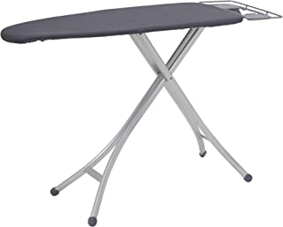 """Household Essentials Steel Top Wide Ironing Board with Iron Rest and Aluminum Legs   Dark Grey Cover and Silver Finish   18"""" x 49"""" Iron Surface"""