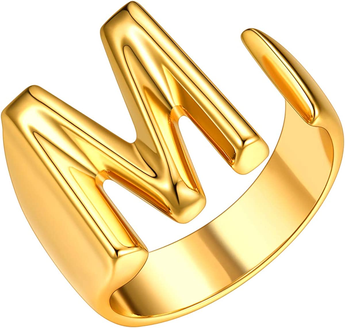 FOCALOOK Initial Ring 18K Gold Plated Rings Reservation Ope Letter Dedication for Women