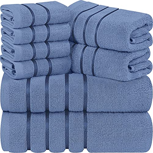 utopia luxury bath towels Utopia Towels Electric Blue 8-Piece Bath Linen Sets - Viscose Stripe Towels - 600 GSM Ring Spun Cotton - Highly Absorbent Luxury Towel Set (Pack of 8)