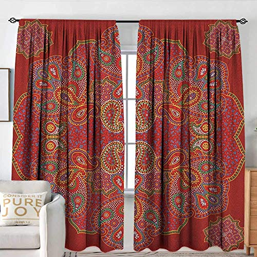Rod Pocket Blackout Curtain Red Mandala,Moroccan Persian Design Oriental Rectangular Paisley Floral Print, Burngundy Blue and White,Decor/Roo, 38 x 45 Inch