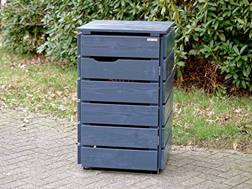 1er Mülltonnenbox 120 L Holz, Deckend Geölt Anthrazit Grau - 2