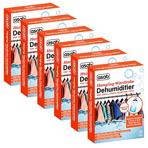 Wardrobe Dehumidifier Hanging Bags   Mini Moisture Absorber   Damp Trap Sachets   Humidity Catcher with Anti Mould Crystals   Closet Small Wet Remover - 6 Pack