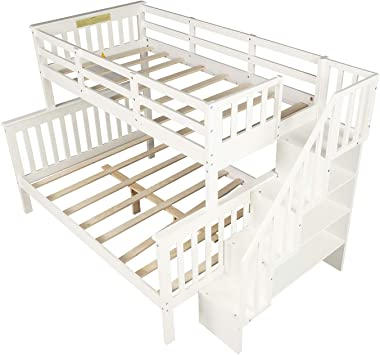 Merax Stairway Bunk Beds Twin Over Full with Storage (Snowy White)