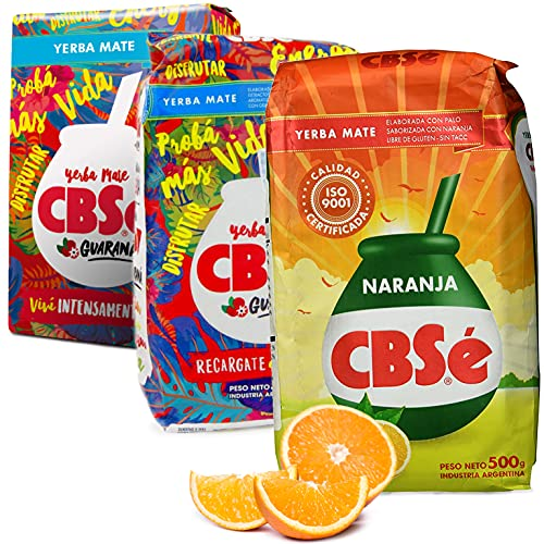 Juego de té Yerba Mate CBSe Guarana 1 kg + CBSe Naranja 0,5 kg | té mate de Argentina | té mate de hojas de mate, trozos de matemático y hojas finamente molidas