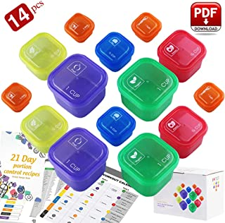 Goandwell 21 Day Fix Containers and Food Plan - Double Set (14-Pieces) Portion Control Container Kit for Weight Loss - Beachbody Portion Containers with Recipe
