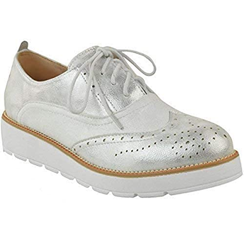 WOMENS TRAINE FLAT LOAFERS CREEPERS SIZ LADIES LACE UP METALIC PLATFORM BROGUES