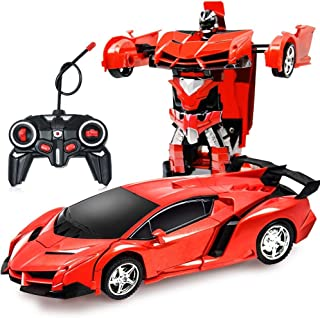 ZeroPlusOne® RC Car for Kids, 1:18 Transform Car Robot, 2.4GHz Rechargeable 360°Rotating Drifting Realistic Engine Sounds Remote Control Toy Car, Best  Kids and Adults (Red)
