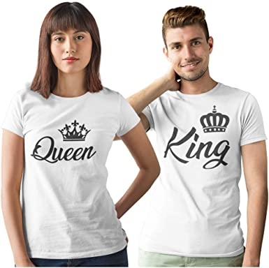 Pack de 2 Camisetas Blancas para Parejas King y Queen Corona Negra