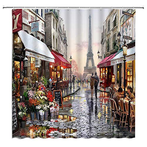 Xnichohe Paris Street Scene Shower Curtain Oil Painting Eiffel Tower Flower Bustling City in The Rain Umbrella Polyester Cloth Fabric for Bathroom Curtains Decor Set with 12 pcs Hooks,70 x70 Inches