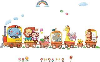 DECOWALL DL-1406AL Trenes de Animales Vinilo Pegatinas Decorativas Adhesiva Pared Dormitorio Salón Guardería Habitación Infantiles Niños Bebés (Extra Grandede)