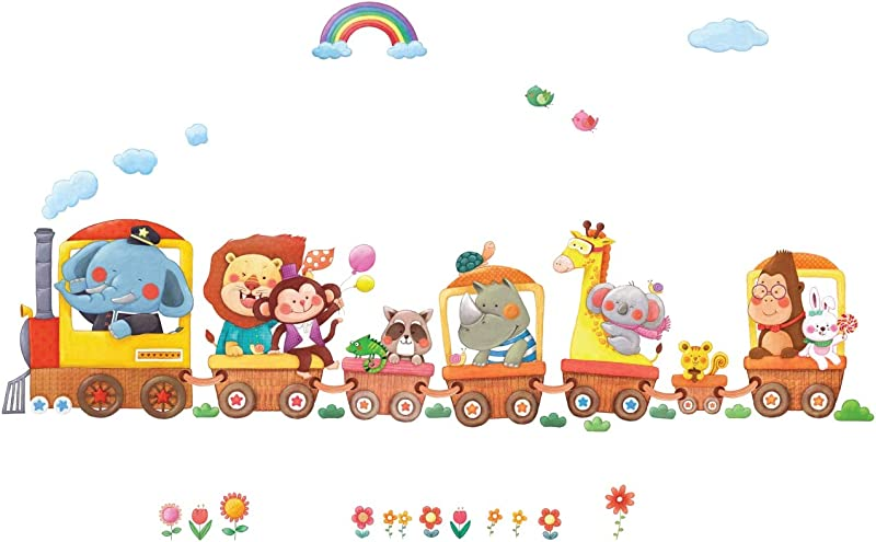 Decowall DL 1406AL Animal Trains Kids Wall Stickers Wall Decals Peel And Stick Removable Wall Stickers For Kids Nursery Bedroom Living Room XLarge
