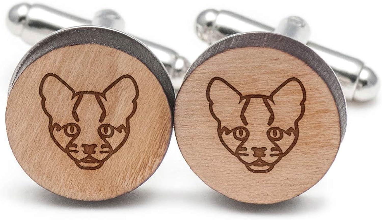 Ocelot Cufflinks, Wood Cufflinks Hand Made in the USA