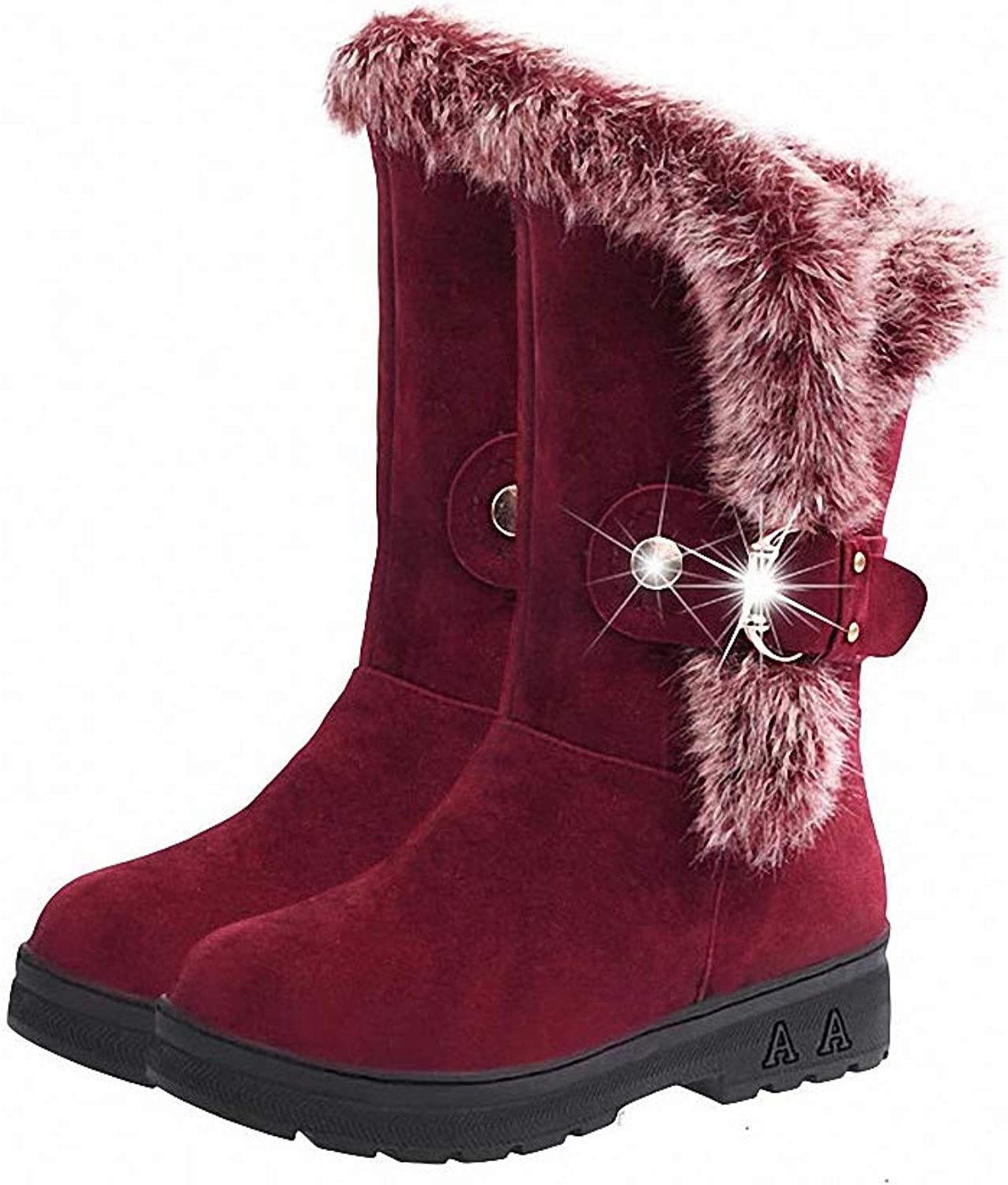 Kyle Walsh Pa Women Snow Boots Round Toe Warm Fur Mid-Calf Soft Female Winter Booties