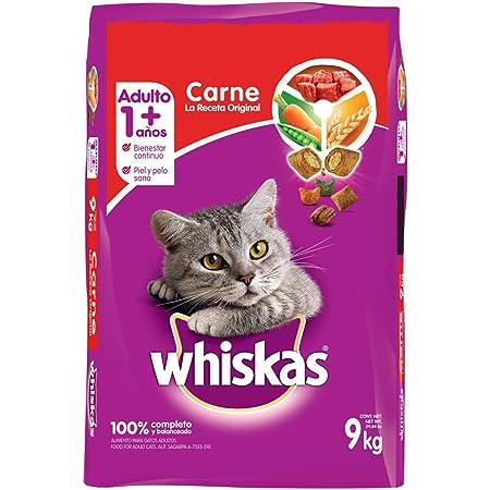 Whiskas Whiskas alimento para Gatos Adultos. Sabor Carne (Receta Orginal) 9Kg, Violeta