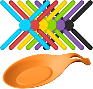 6 Pack Non-Slip Foldable Silicone Trivets, SourceTon Collapsible Cross Design Silicone Trivets in Cute Colors, Silicone Po...