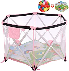 CXHMYC Kindergarten Activity Park Kindergarten Kindergarten Kindergarten Activity Park Travel Kindergarten Robust and durable Washable  with ramp play mat and 200 balls