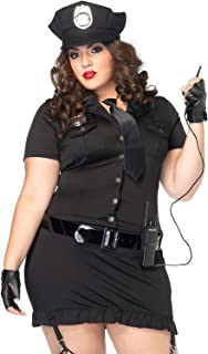 Leg Avenue Women`s Plus Size 6pc. Dirty cop incl hat, Dress, Gloves, Belt, tie and walkie Talkie, black, 1X / 2X