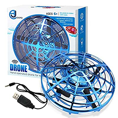 AJ Expo Hand Operated Drone for Kids – UFO Mini Drone with Upgraded Sensors, Long Lasting Rechargeable Battery & LED Lights – Flexible Caged Quadcopter Provides Safe Fun Indoors & Outdoors from AJ Expo
