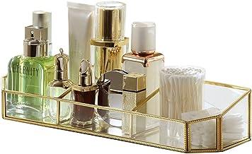 LWT 化粧品収納ボックス家庭用ヨーロッパスタイルの透明なガラスデスクトップオーガナイザー棚シンプル(35.7 * 10 * 6.8cm)ゴールド