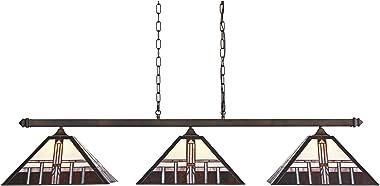 "Pleske Bronze Large Linear Island Pendant Chandelier 56"" Wide Mission Tiffany Style Alfred Geometric Art Glass 3-Light Fixtur"