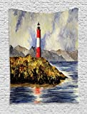 Ambesonne Lighthouse Tapestry, Les Eclaireurs Lighthouse Coastline Seashore Mountains Cliff Painting Effect, Wall Hanging for Bedroom Living Room Dorm Decor, 60' X 80', Blue Red Green