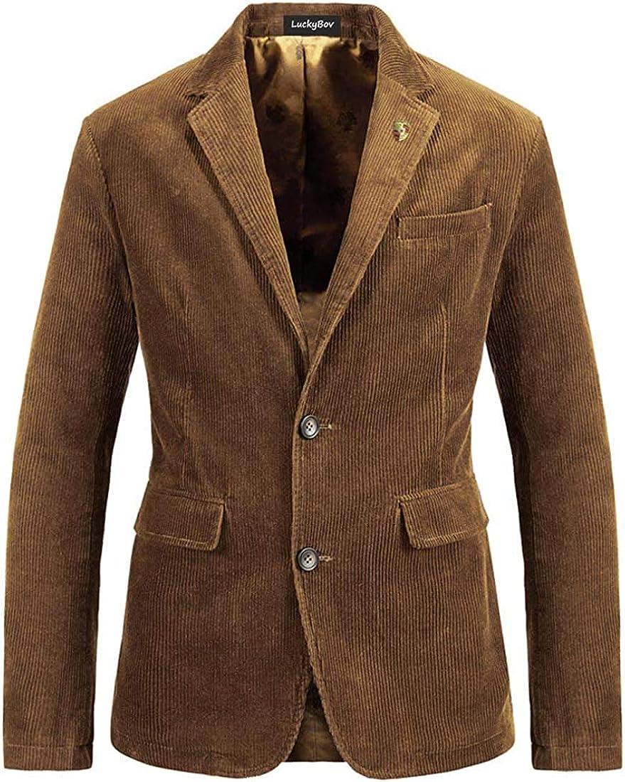 Men Stylish Corduroy Blazer Two-Button Front Vintage Casual Sport Coat