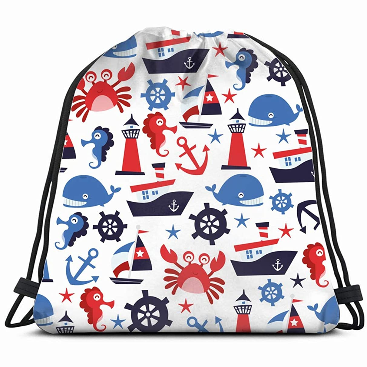 nautical theme parks outdoor Drawstring Backpack Gym Sack Lightweight Bag Water Resistant Gym Backpack for Women&Men for Sports,Travelling,Hiking,Camping,Shopping Yoga