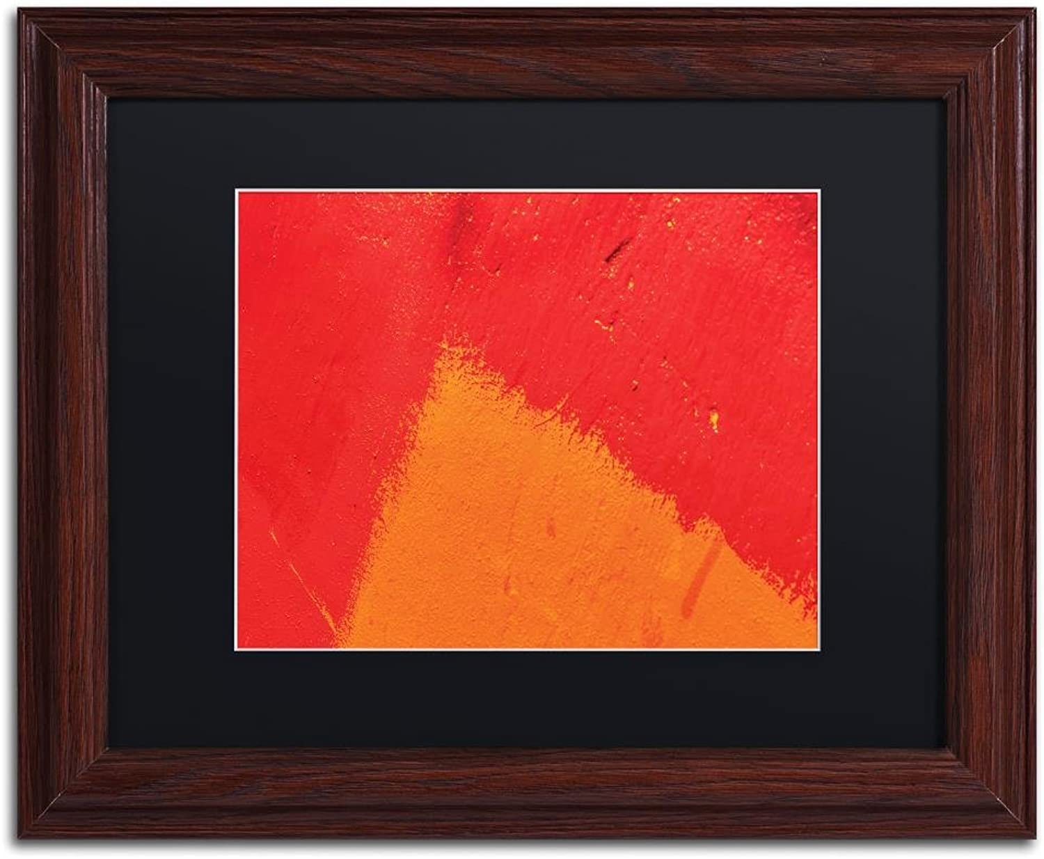 Trademark Fine Art Abstract orange Triangle by Claire Doherty, Black Matte, Wood Frame 11x14