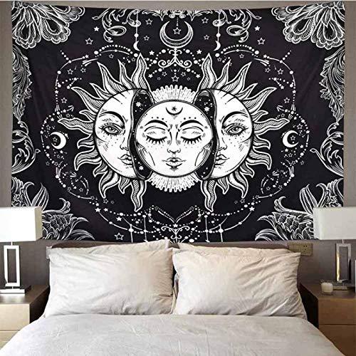 Zehuishangmao Tapiz de mandala blanco negro sol y luna tapiz para colgar en la pared de chismes tapices hippie alfombras de pared decoración de dormitorio manta