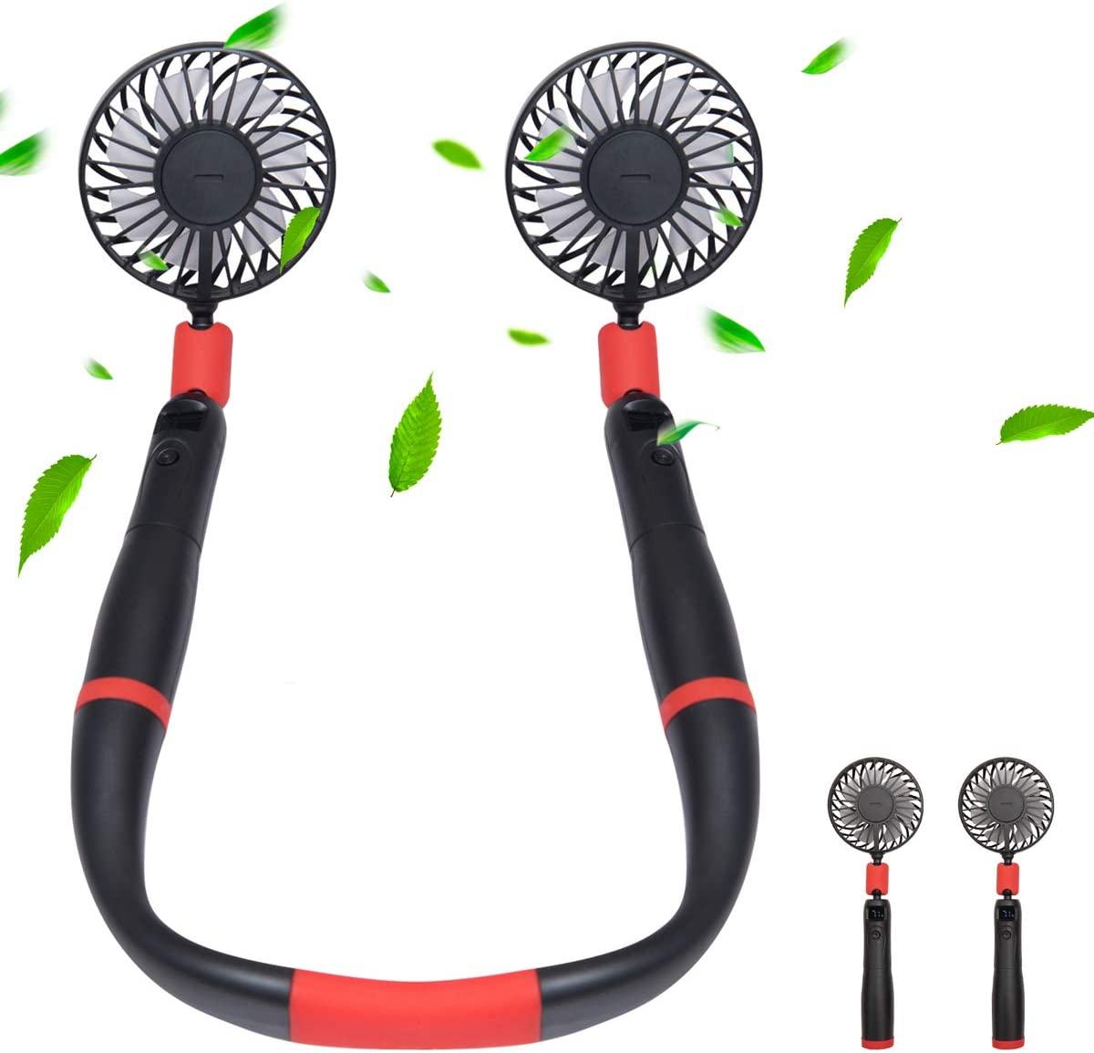 Portable Neck Fan Personal USB Rechargeable Hand Free Sports Fans 4000mAh Removable Handheld and Wearable with 3 Level Airflow, LCD Power Display for Travel Office Household Cooling By Tikduck (Black)