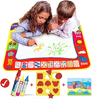HOMSEEK Aqua Magic Doodle Mat/Water Doodle Mats(31.4in x 23.6in) with 4 Color,Reusable Coloring Aqua Classic Mat Drawing Learning Painting Doodle Scribble Mats with Magic Pen for Kids