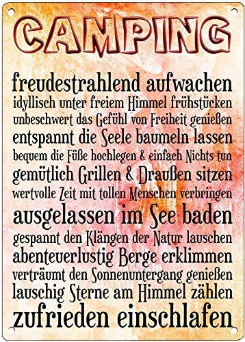 Cadouri Blechschild CAMPING Dekoschild Wandschild 28 x 20 cm
