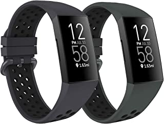 ZEBRE Sport Bands Compatible with Fitbit Charge 4 / Charge 3, Soft Silicone Waterproof Breathable Watch Strap Replacement ...