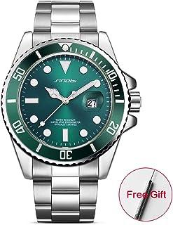 SINOBI Casual Men Stainless Steel Wrist Watch 3ATM Waterproof Luminous Calendar Auto Date Sport Men Watch