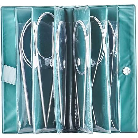 Juego de 11 agujas de tejer circulares de 80 cm, agujas de ganchillo de acero inoxidable, tamaños de 1,5 mm a 5,0 mm