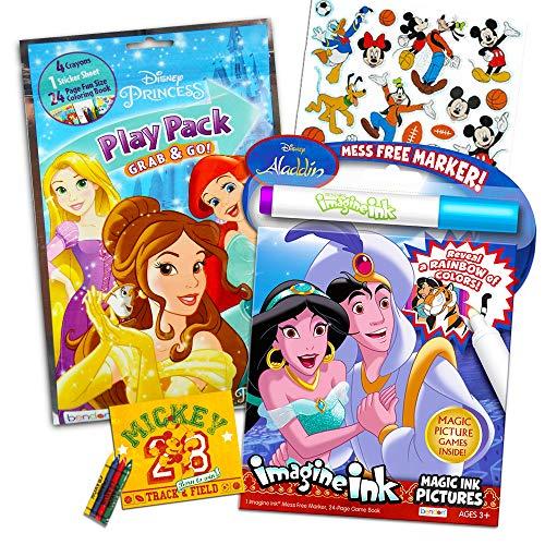 Disney Aladdin - Juego de libros para colorear - Libros de tinta Imagine sin desordenes, paquete de juego y pegatinas de bonificación (suministros de fiesta de Aladdin)