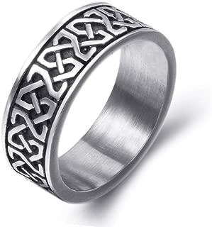 Gungneer Stainless Steel Ring Band Stainless Steel Celtic Knot Black Biker Jewelry