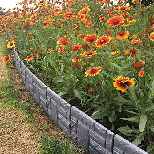 NSYNSY 6-Pack Zaun rote Backstein Textur/Marmor Textur Garten Rasen Rand Dekoration (Farbe: B)