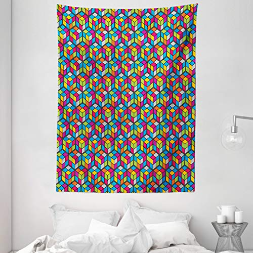 Lunarable Colorful Tapestry, Colorful Funny Cubes Geometric Creative Squares Graphic Repetitive Pattern, Wall Hanging for Bedroom Living Room Dorm Decor, 60' X 80', Multicolor