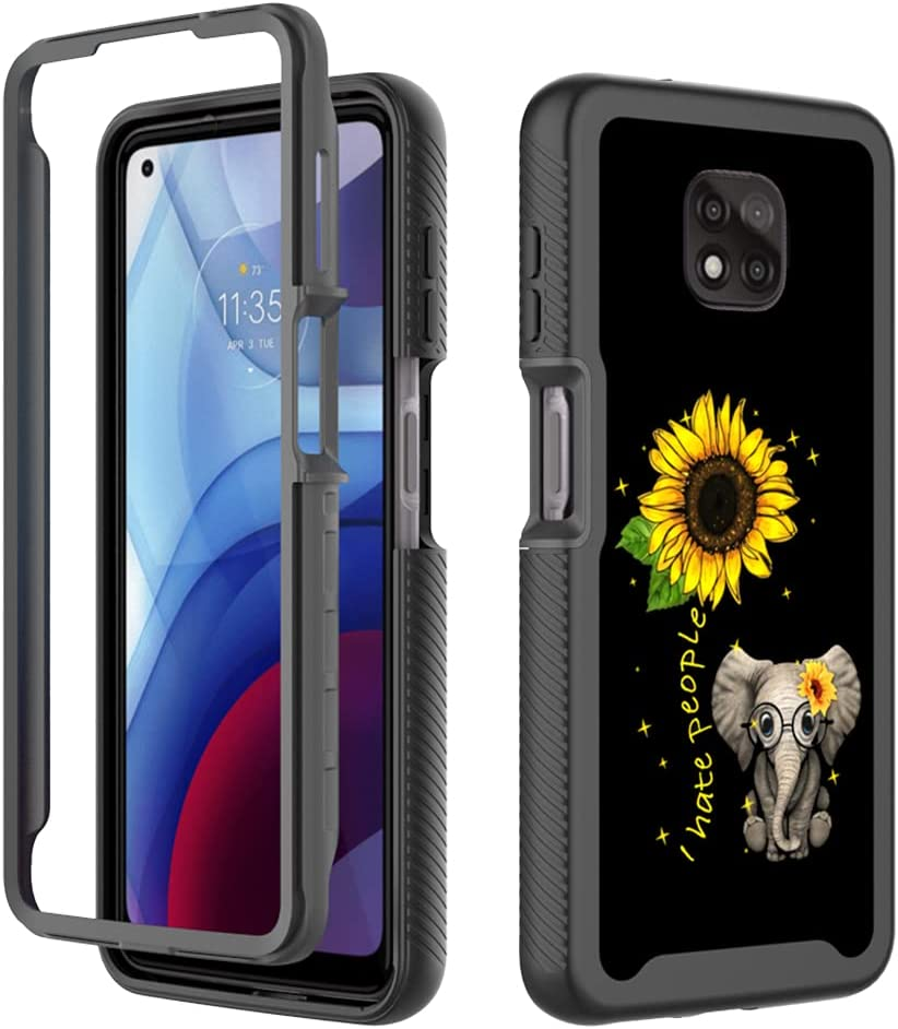 GMJzzx Case for Motorola Moto G Power,Fashion Cute Shockproof Dual Layers Full Body Cover,Soft TPU Bumper PC Armor Protective Cover for Moto G Power 2021(Sunflower Elephant)