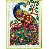 MXJSUA DIY 5D Forma Especial Diamante Pintura por número Kit Cristal Rhinestone Taladro Redondo Imagen Arte Artesanía Decoración de la Pared del hogar 30x40 cm Pavo Real de Color