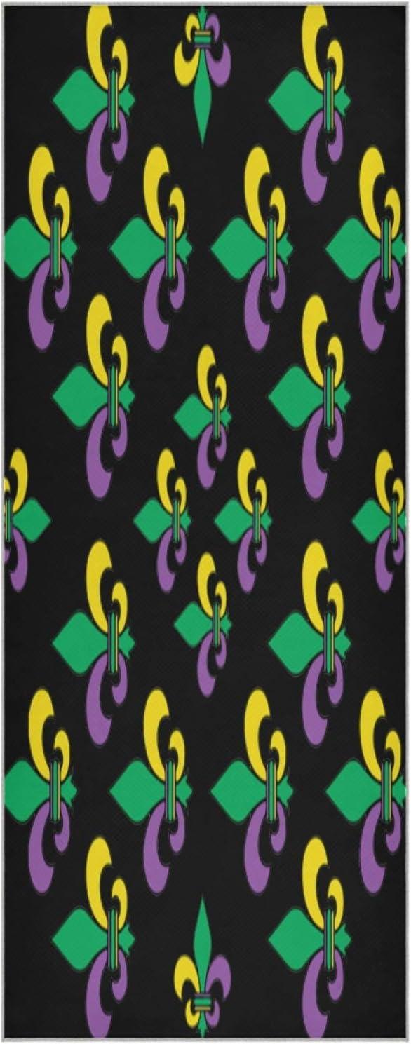 73 Inch Yoga Mat Towel Mardi Max 40% OFF Limited time sale Gras De Fleur Carnival Slip Lis Non