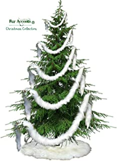 Fur Accents Christmas Tree Garland - Skirt - Shaggy Shag Faux Fur Scarf - White - Staircase Hand Rail Decor USA (2
