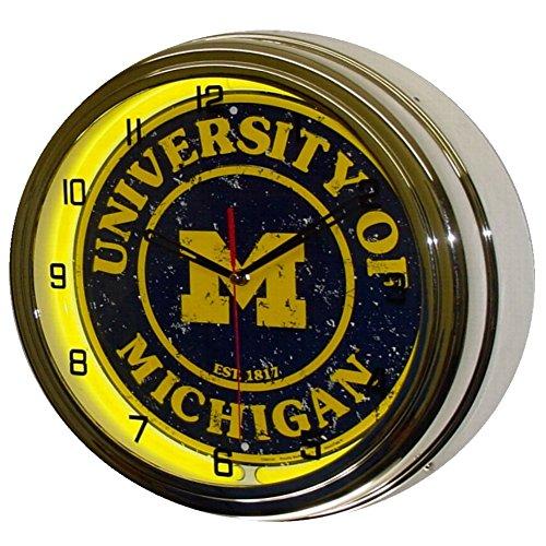 University of Michigan Logo Sign Neon Lighted Wall Clock Chrome Yellow
