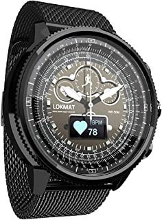 LOKMAT Smart Quartz Watch,Men Boys Smart Watch with Heart Rate,Sleeping,Pedometer,Remote Camera,Call/SMS Reminder,IP68 Waterproof Stainless Steel Smartwatch for Android and iOS