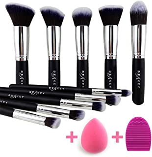 BEAKEY Makeup Brush Set, Premium Synthetic Kabuki Foundation Face Powder Blush Eyeshadow Brushes Makeup Brush Kit with Blender Sponge and Brush Cleaner (10+2pcs, Black/Silver)