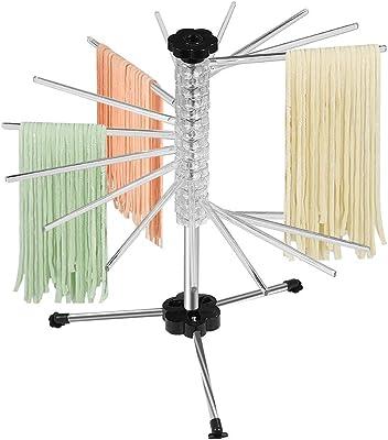 Estante de secado de pasta, plegable con rascador, 16 varillas antideslizantes para pasta seca hasta 4.5 libras para fideos y pastas (transparente)
